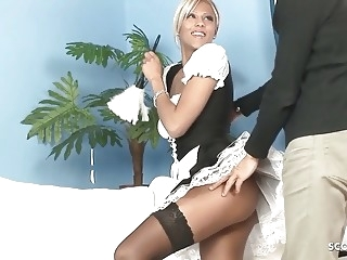 Hot Maid in Stockings Seduce to Fuck by Huge Cock Boss blonde cumshot hardcore video