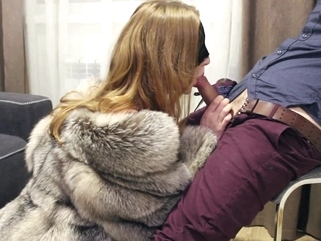PART 1: Teasing and blowjob in fox fur coat and lingerie. Ultimate erotic blond red head lingerie video