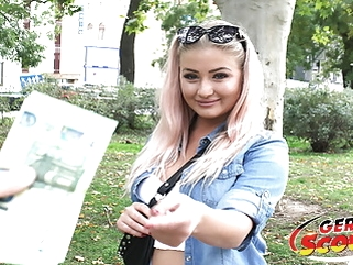 GERMAN SCOUT - CURVY COLLEGE TEEN FUCK AT PICK UP CASTING blowjob bbw hardcore video